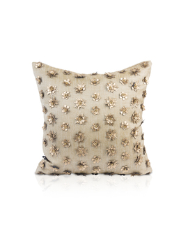 "Square Metallic Accent Pillow In 100% Linen ""Kaliyann"" by Pyar &Amp; Co."