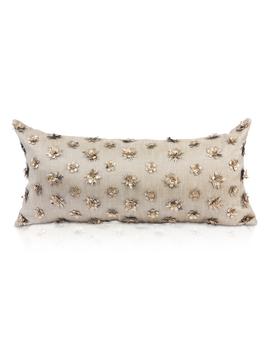 "Rectangular Metallic Accent Pillow In 100% Linen ""Kaliyann"" by Pyar &Amp; Co."