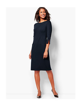 Bow Sleeve Refined Ponte Sheath Dress   Solid by Talbots