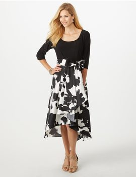 Belted Floral Flare Dress by Dressbarn