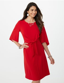 Flared Tied Front Dress by Dressbarn
