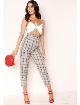 Dusty Beige Checked High Waist Trousers by Missy Empire
