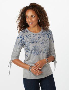 Floral Foil Cinch Sleeve Sweatshirt by Dressbarn
