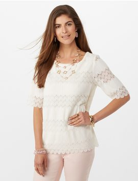 Textured Lace Split Back Blouse by Dressbarn