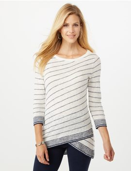 Striped Tulip Hem Sweater by Dressbarn