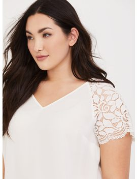 White Lace Georgette Blouse by Torrid