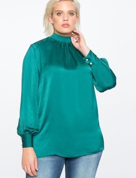 Gathered Mock Neck Blouse With Pearl Button Cuff by Eloquii