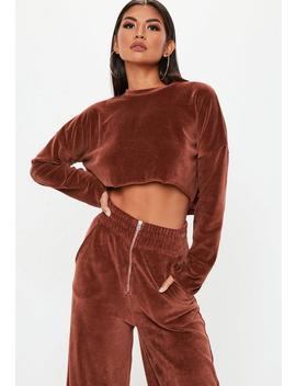 Rust Velour Boxy Crop Top by Missguided
