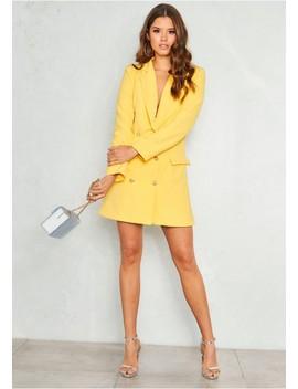 Carly Yellow Tuxedo Mini Dress by Missy Empire