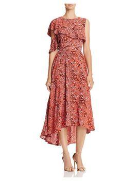 Women's Red Rivele Leopard Print High/Low Midi Dress by Maje