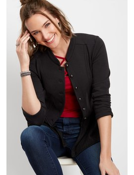Solid Peplum Military Cardigan by Maurices