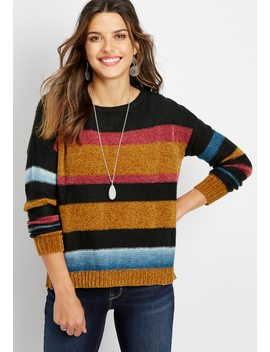 Chenille Stripe Pullover Sweater by Maurices