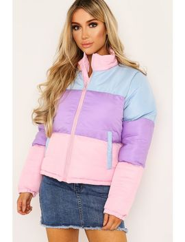 Pastel Colour Block Puffer Coat by Trendeo