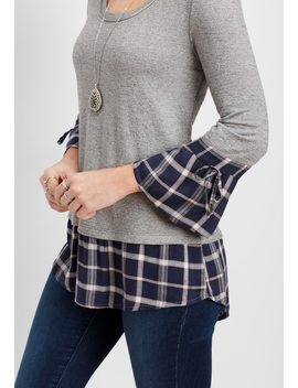 Plaid Bell Sleeve Pullover by Maurices