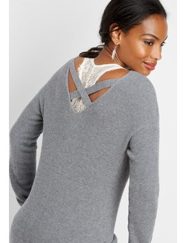 Double Back Bar Pullover Sweater by Maurices