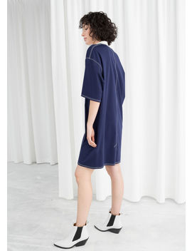 Contrast Seam Cotton T Shirt Dress by & Other Stories