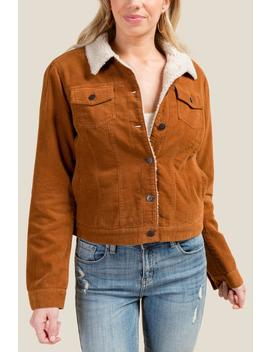 Sara Sherpa Lined Corduroy Jacket by Francesca's