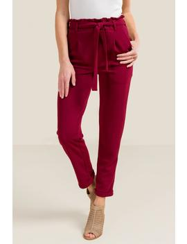 Stephanie Textured Paperbag Waist Pants by Francesca's
