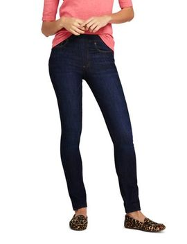 Women's Mid Rise Pull On Skinny Blue Jeans by Lands' End