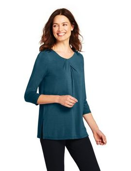 Women's 3/4 Sleeve Jersey Knot Neck Tunic by Lands' End