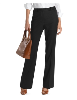 Petite Plain Front Caroline Fit Gabardine Dress Trousers by Brooks Brothers