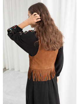 Suede Fringe Vest by & Other Stories