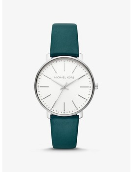 Pyper Silver Tone And Leather Watch by Michael Kors