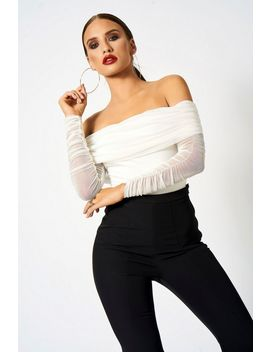 **Ruched Mesh Bardot Bodysuit By Club L by Topshop