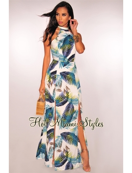 White Navy Teal Palm Print Halter Slit Maxi Dress by Hot Miami Style