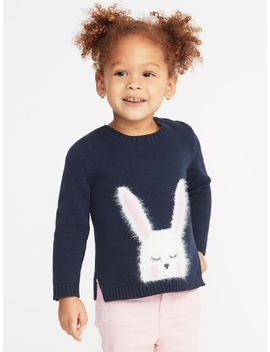 Split Hem Crew Neck Critter Sweater For Toddler Girls by Old Navy