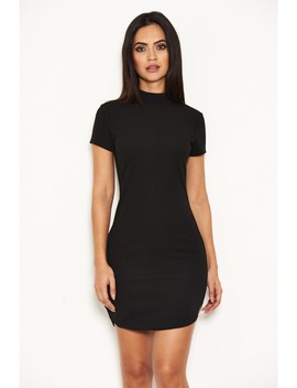 Black High Neck Bodycon Mini Dress by Ax Paris