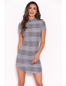 Black Check Bodycon Dress With High Neck by Ax Paris