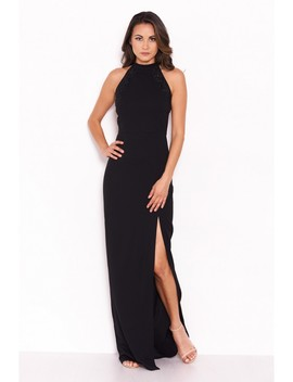 Black Sequin Panel Detailing Maxi Dress With Thigh Split by Ax Paris
