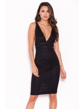 Black Lace V Neckline Bodycon Dress by Ax Paris