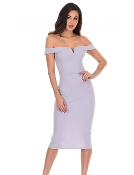 Silver Bardot Bodycon Dress by Ax Paris