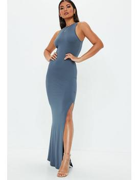 Blue 90s Neck Maxi Dress by Missguided