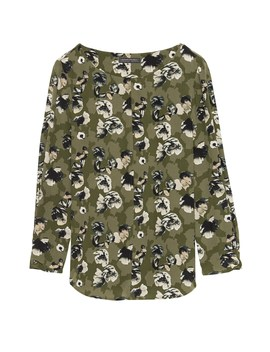 Floral Washable Silk Boat Neck Top by Banana Repbulic
