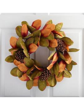 Faux Magnolia Leaf And Pinecone Wreath by World Market