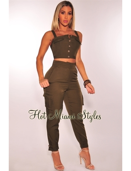 Olive High Waist Paperbag Cargo Pants by Hot Miami Style
