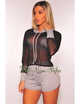 Black Mesh Gray Hoodie Shorts Two Piece Set by Hot Miami Style