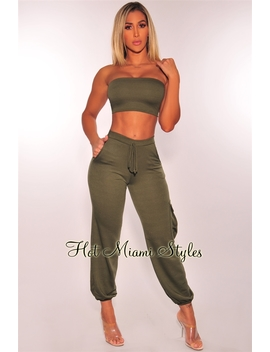 Olive Bandeau Cargo Jogger Two Piece Set by Hot Miami Style