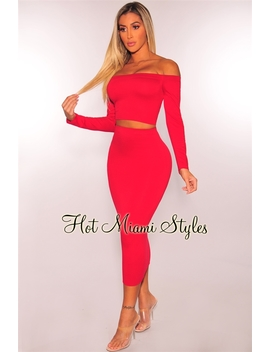 Red Off Shoulder Midi Skirt Two Piece Set by Hot Miami Style