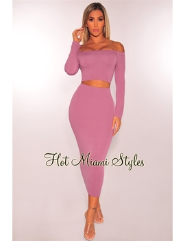 Mauve Off Shoulder Midi Skirt Two Piece Set by Hot Miami Style