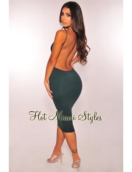 Emerald Spaghetti Straps Open Back Dress by Hot Miami Style