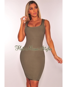 Olive Bandage Ribbed Tank Dress by Hot Miami Style