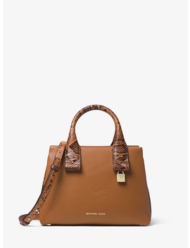 Rollins Small Snake Embossed Leather Satchel by Michael Michael Kors