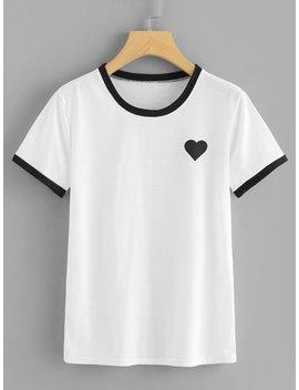 Heart Print Contrast Binding Tee by Romwe