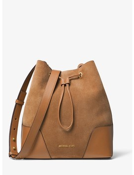 Cary Medium Suede And Leather Bucket Bag by Michael Michael Kors