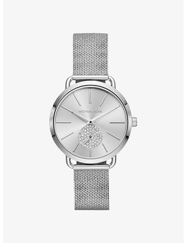 Portia Mesh Silver Tone Watch by Michael Kors