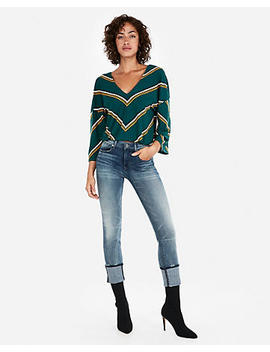 Express One Eleven Striped Flare Sleeve Top by Express